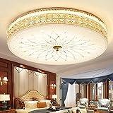 Modern Dimmbar LED Deckenleuchte Deluxe Kristall lampe Runden Design Deckenlampe Weiß Glas Lampenschirm Wohnzimmerlampe Leuchte für Schlafzimmer Esszimmer Goldfarben, Ø60cm