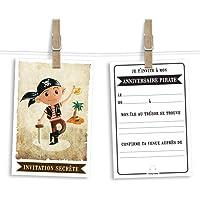 6 cartes et enveloppes invitation anniversaire | Anniversaire fille ou garçon | Thème Pirate