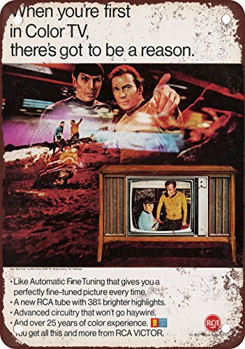1967-rca-tv-and-star-trek-vintage-look-reproduction-metal-tin-sign-8x12-inches