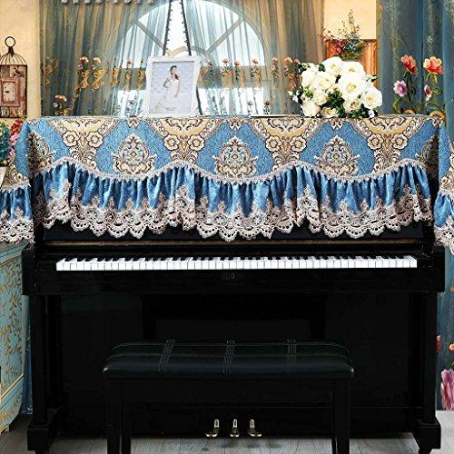 DELLT- Klavier-Tuch, Spitze-Abdeckung, Klavier-Abdeckung halbe Abdeckung, verdickendes Chenille-Klavier-Staub-Tuch, einzelne/doppelte Bank-Abdeckung (Farbe : Blue+38*78)