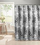 Chi Creative Home Ideen Diamant Weave Strukturierte 13Vorhang für die Dusche mit Metall Roller Haken Whimsy Leaves Grey
