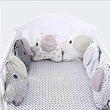 Happyshop18 Baby Bettumrandung aus Baumwolle, gepolstert, Elefanten-Form