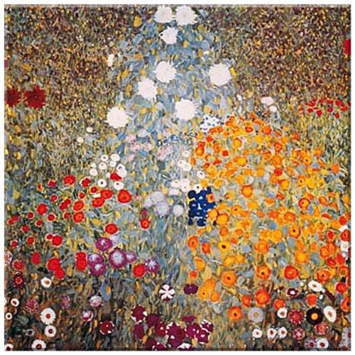 BAUERNGARTEN , Blumenbild von Gustav Klimt , Grösse 90 cm x 90 cm , Digitaldruck (Giclee) auf...