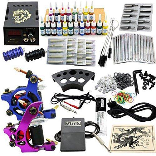TFCFL® professionale tatuaggio macchina kit completo 2 mitragliatrice macchina 20 inchiostro alimentazione elettrica del tatuaggio