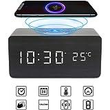 Achort LED Wecker Digital Wecker Holz Tischuhr mit Induktionsladegeräte/Datum/Temperatur Anzeige USB-Ladegerät für Schlafzimmer Kinder