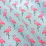 Stoff Baumwollstoff Meterware Flamingo rosa hellblau pink