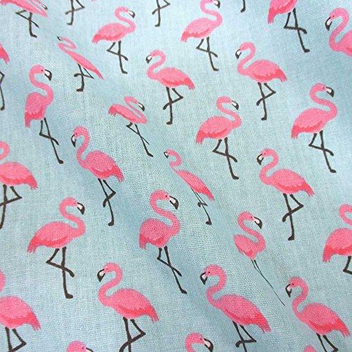 Stoff Baumwollstoff Meterware Flamingo rosa hellblau pink Vogel Kleiderstoff Deko 2017 (Flamingo-stoff Rosa)