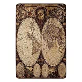 EJjheadband Bathroom Bath Rug Kitchen Floor Mat Carpet,Wanderlust Decor,Old World Map Made in 1720s Nostalgic Style Art Historical Atlas Vintage Decor,Multi,Flannel Microfiber Non-Slip Soft Absorbent