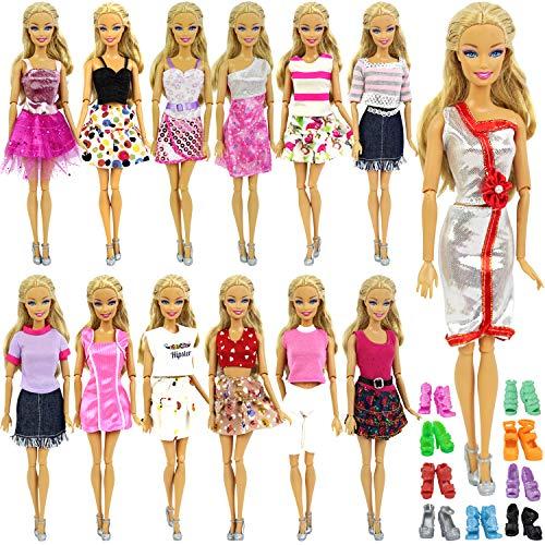 ZITA ELEMENT 10 Stück Puppensachen Kleidung Set für Puppenkleidung Sommerkleid Kleider Casual Kostüm mit Schuhe Bekleidung Zufälliger Stil (Kostüm Für Barbie Puppen)