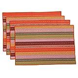 Inwagui 100% Handgefertigt gewebt geflochten Gerippte Baumwolle Tischsets 30cm x 45 cm Set von 4 Placemats-Orange