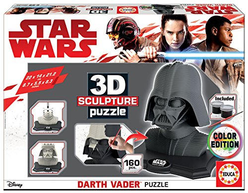 Star Wars- Dibujos Animados y cómic 3D Sculpture Puzzle Darth Vader, Black Side Edition, Color Negro (Educa Borrás 17334)