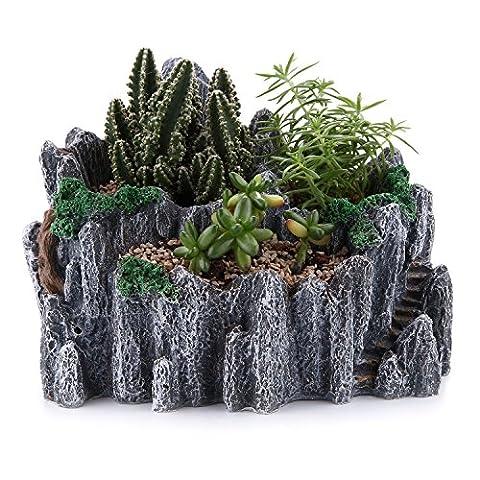 T4U 19.5CM Chinese style mountain peak shape Sucuulent Cactus Plant Pots Flower Pots Planters DIY Containers Window Boxes Grey