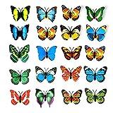20pcs 3d PVC Papillon Aimant Décoration murale avec aimants de réfrigérateur (couleur aléatoire)