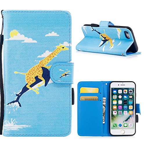 "MOONCASE iPhone 8/iPhone 7 Coque, [Colorful Pattern] Wristbands avec Support Protection Étuis Case Card Holder Flip Cuir Housse pour iPhone 8/iPhone 7 4.7"" Cat knight"