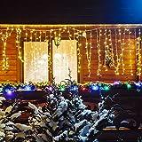 Tenda Con Cascata Luminosa Da Esterno 3 x 0,8 Metri, Catena Luci 96 Led Flash Di Illuminazione Giochi di Luce, Perfetta Per Decorare La Vostra Casa