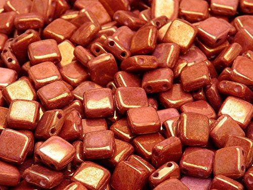 40pcs-tschechische-glasperlen-tile-zwei-loch-flach-platz-6x6x29mm-chalk-white-red-luster