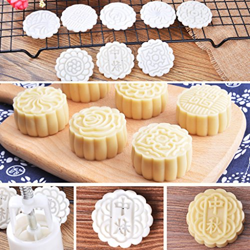 Shop For Cheap Moon Cake Mold 50g Round Set With 6 Stamps New Version 3 D Plum Blossom Pattem Long Performance Life Molds Kitchenware