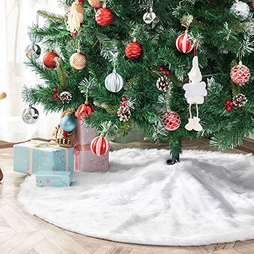 Deggodech Weiß Plüsch Weihnachtsbaum Rock 2018 122cm Luxus Weihnachtsbaumdecke Groß Weißer Weihnachtsbaum Röcke für Weihnachten Baum Rock Deko Weiß Weihnachtsdekoration (48Zoll/122cm)