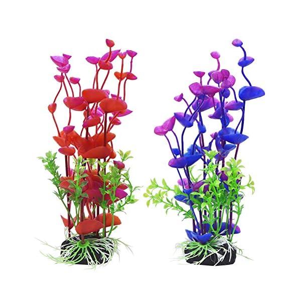 Mudder Artificial Aquatic Plants Aquarium Plants Plastic Fish Tank Decorations 7.5 Inch, 2 Pieces
