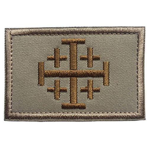 Golden Khaki (SpaceCar Jerusalem-Kreuzfahrer, Kreuzritter, Heiliges Sepulchre, Taktisches Moralkreuz, bestickt C - Khaki & Golden)