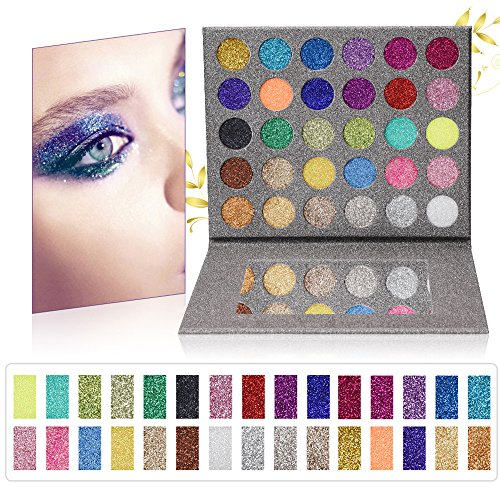 MISKOS Pressed Glitter Eyeshadow Palette 30 Colors Pigmented Mineral Foiled Long-Lating Shimmer Powder Eye Shadow Pallet Waterproof Makeup Kit