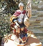 HANDBEMALTE PREMIUM - Heiligenfigur Heiliger Florian, mit Wasserkanne und Speer, Schutzpatron der Feuerwehr, der Bäcker, Kaminkehrer / Rauchfangkehrer, Töpfer, Bierbrauer und aller Feuerwehrleute - alle ÖLBAUM HEILIGEN- und Krippenfiguren zeichnen sich durch extrem sauber gearbeitete und präzise Gesichtszüge der Figuren aus, coloriertes Holzfiguren- bzw. Echtholzimitat, schlanke Form, standfest