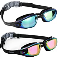 DasMeer Swimming Goggles, 2 Pack, No Leaking Anti Fog UV Protection Swim Goggles Soft Silicone Nose Bridge for Adult…