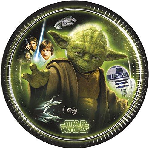 Procos 84400 - Piatti Carta Star Wars Heroes, Ø20 cm, 8 Pezzi, Nero/Verde