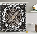 JIEKEIO Greek Key Shower Curtain, Grecian Fret And Wave Pattern on Dark Background Antique Retro Swirls, Cloth Fabric Bathroom Decor Set with Hooks, 60W X 72L Inches, Dark Brown Coconut Tan