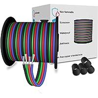 LEADTOPS Câble RGB D'extension Electrique Fil à 4 Broches 4 x 0.32mm² Calibre 22 Pour Bande LED RVB 5050 3528 22 AWG 10…