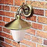 Außen Wandleuchte Messing Antik rostfrei Riffelglas Schirm Premium massive Wandlampe Außenleuchte Haus Balkon E14 - 7