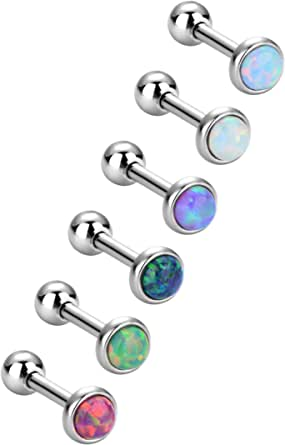 6 Pezzi Opale Orecchini a Bottone in Acciaio Inossidabile Piercing a Barretta Gioielli del Corpo per Trago Cartilagine, 6 Colori, 18 Gauge