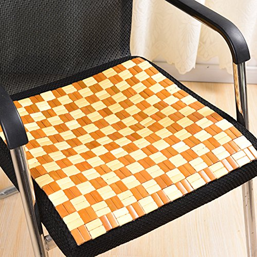 QTQZ Bambus-kissen,Sommer Büro Sitzkissen Sommer Student Matt Atmungsaktiv Thermische Stuhl Sitzkissen-A 37x37cm(15x15inch)