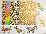 The Home Fusion Company A4 Tier-Print Karte & 5 Tier geformt Leopard Zebra Eidechse Giraffe Formen Kunst Handwerk 20 Blatt