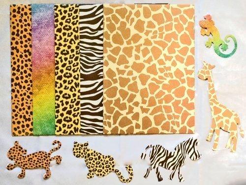 A4 Animal Print Card & 5 Animal Shaped Leopard Zebra Lizard Giraffe Shapes Art Craft 12 Sheets