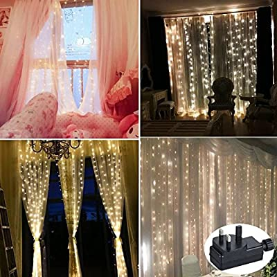 Led Curtain LightCORSTR 2M X 200 LED Lights Window Light Icicle Fairy String With 8Modes For Party Christmas Xmas Wedding Safe Low