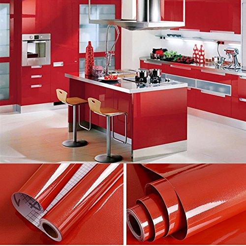 0,61x5,5M PVC Selbstklebend Möbel Klebefolie küchenschrank Aufkleber schrankfolie schlafzimmer wand tapeten roller küche folieren Rot mit Kostenloses Zubehör Schaber