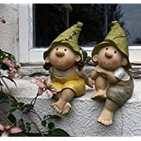 Lilly and Len Elves sitting, Garden Ornament, Gnome, Garden Fairy, Troll, Imp