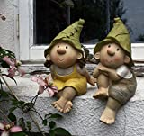 Lilly and Len Elves sitting , Garden Ornament, Gnome, Garden Fairy, Troll, Imp