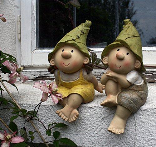 Lilly y Len Elves sentados, ornamento del jardín, gnomo, jardín de hadas,...