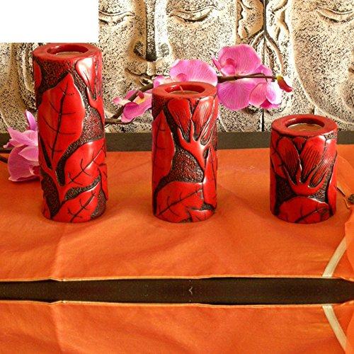 Chinesische Kerze (Qing Chen Chinesisch-Art Kerze Ornamente Blume Kerzenhalter DREI-Satz-A)