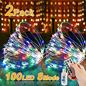 Led Lichterkette, Nasharia 2 Stück 10M 100LED USB Lichterkette Draht Wasserdicht mit Schalter, Kupferdraht Stimmungs…