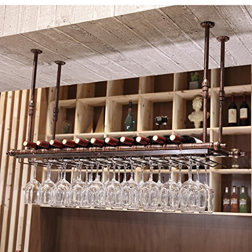 SKC Lighting-Wine shelf Iron bar pendant, wine shelf, upside down, creative wine, shelf decoration, feather, telescopic, black, bronze (60 cm, 80 cm, 100 cm, 120 cm, 150 cm)