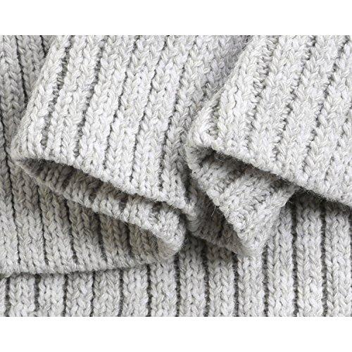 Luxspire Damen Pullover, V-Ausschnitt mit Schnürung Vorne Langarm Strickpullover, Schwarz, Medium Grau