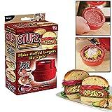 Shopo Stufz Stuffed Burgers Patty Maker Hamburger Meat Press Machine Kitchen Cookware (Red)