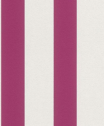 Vliestapete Streifen Gestreift weiß pink Tapete Rasch Prego 700206