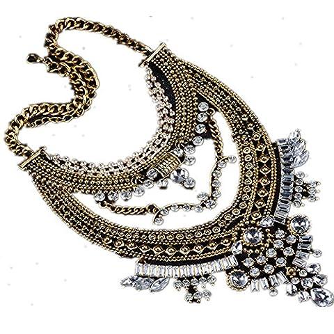 Cexin Fashion Vintage Silver Gold Tone Long Boho Statement Necklace