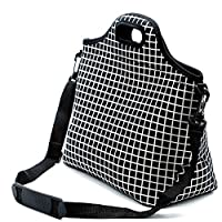 Case Wonder Lunch Bags,Neoprene Lunch Tote,Insulated Large Cooler Lunch Bag,Reusable Washable Lunch Box With Shoulder Strap for Men/Women/Picnic/Work/School(Black Grid L)