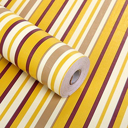 Zhzhco Selbstklebende Pvc-Wallpaper Wallpaper 45Cm*10M Gelb Streifen Mit Leim Wallpaper