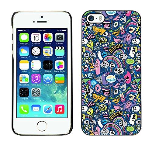TopCaseStore / caoutchouc Hard Case Housse de protection la Peau - Cats Ghost Monster Wallpaper Colorful Design - Apple iPhone 5 / 5S